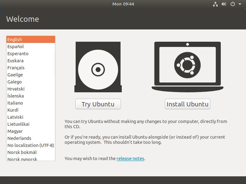 installing ubuntu - start screen